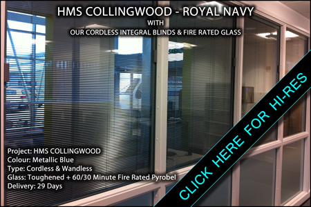 Magnet operated integral blinds and fire rated glass at HMS Collingwood supplied by Integral Blinds Ltd.