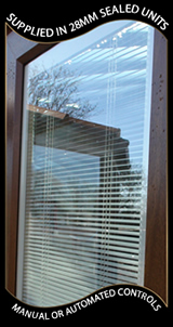 Magnet operated integral blinds for bifold doors