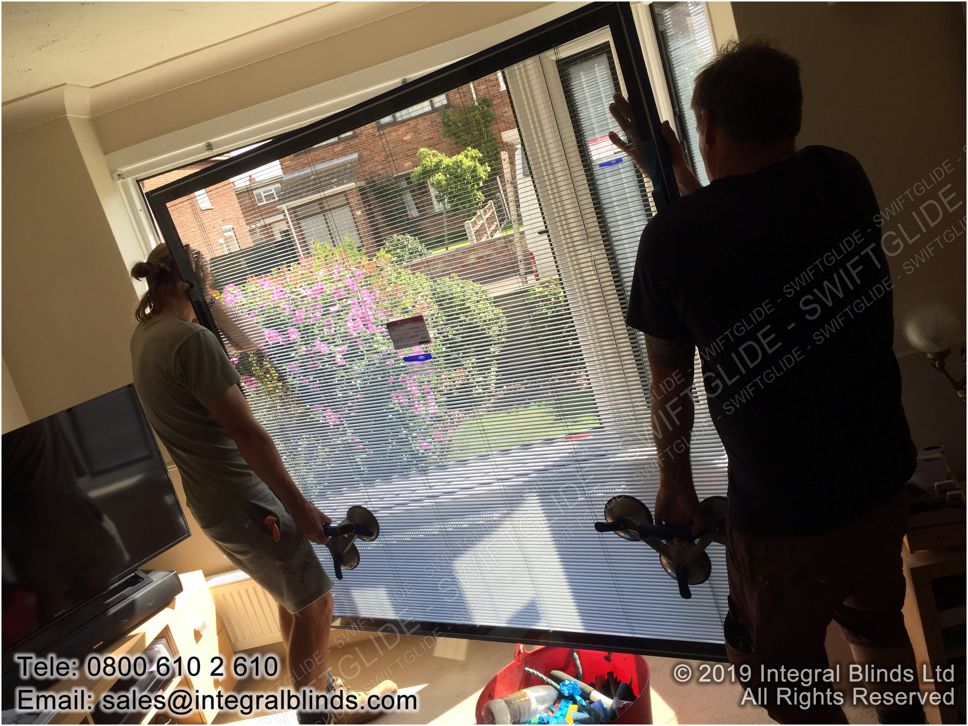 having removed the original sealed units we install the new integral blinds sealed units
